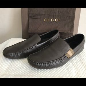 Pre-owned Chocolate Leather Gucci Drivers